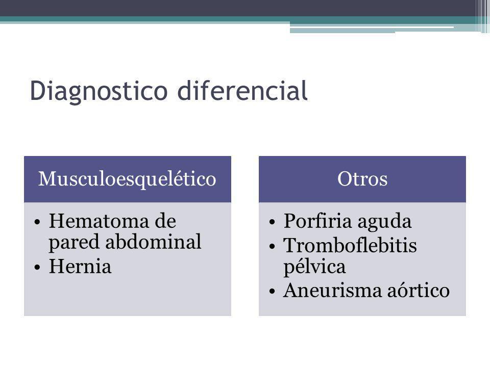 Diagnostico diferencial Musculoesquelético Hematoma de pared abdominal Hernia Otros Porfiria aguda Tromboflebitis pélvica Aneurisma aórtico