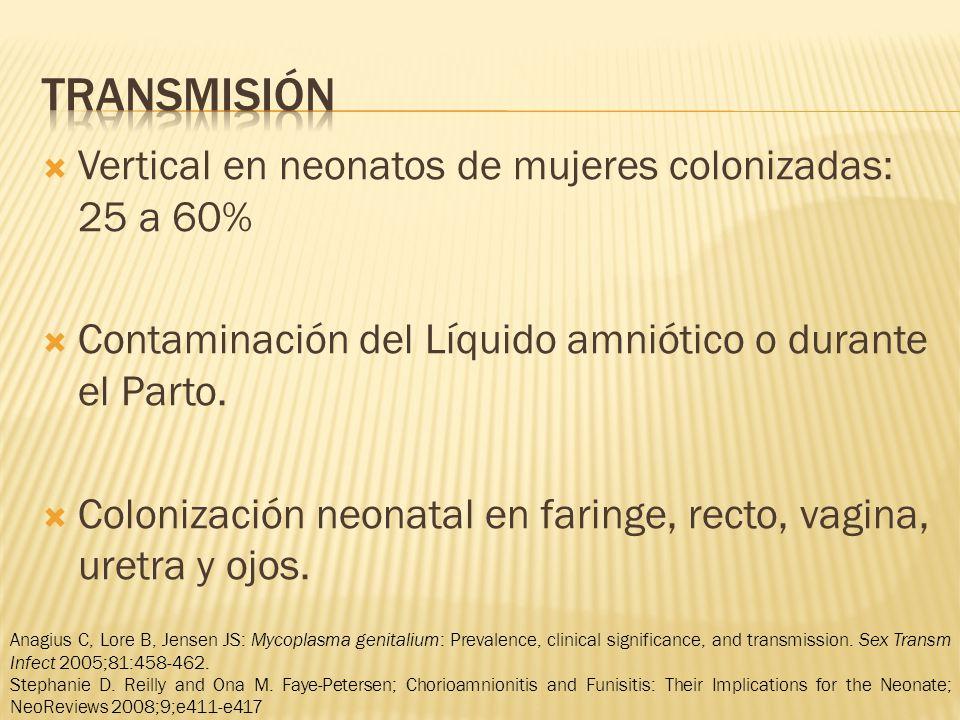 Vertical en neonatos de mujeres colonizadas: 25 a 60% Contaminación del Líquido amniótico o durante el Parto.