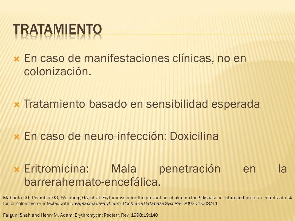 En caso de manifestaciones clínicas, no en colonización.