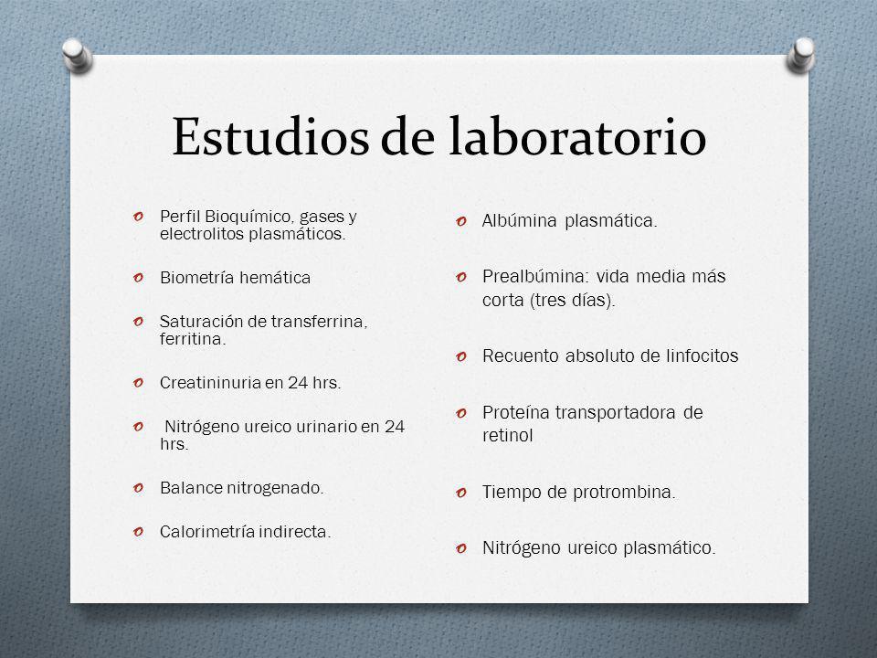 Estudios de laboratorio o Perfil Bioquímico, gases y electrolitos plasmáticos. o Biometría hemática o Saturación de transferrina, ferritina. o Creatin