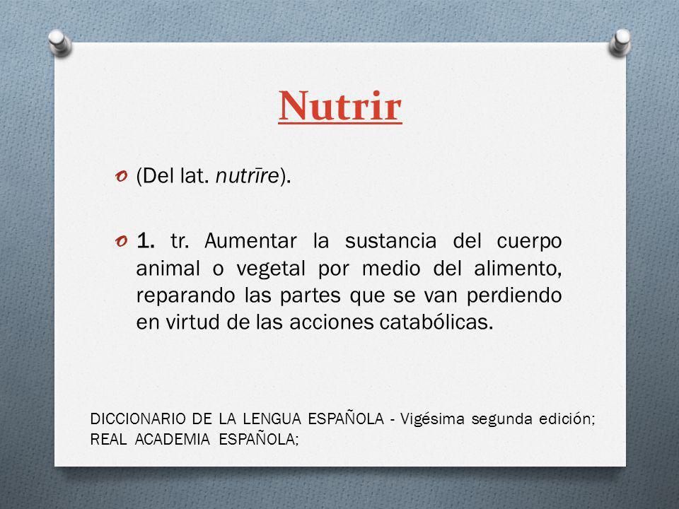 Nutrir o (Del lat. nutrīre). o 1. tr. Aumentar la sustancia del cuerpo animal o vegetal por medio del alimento, reparando las partes que se van perdie