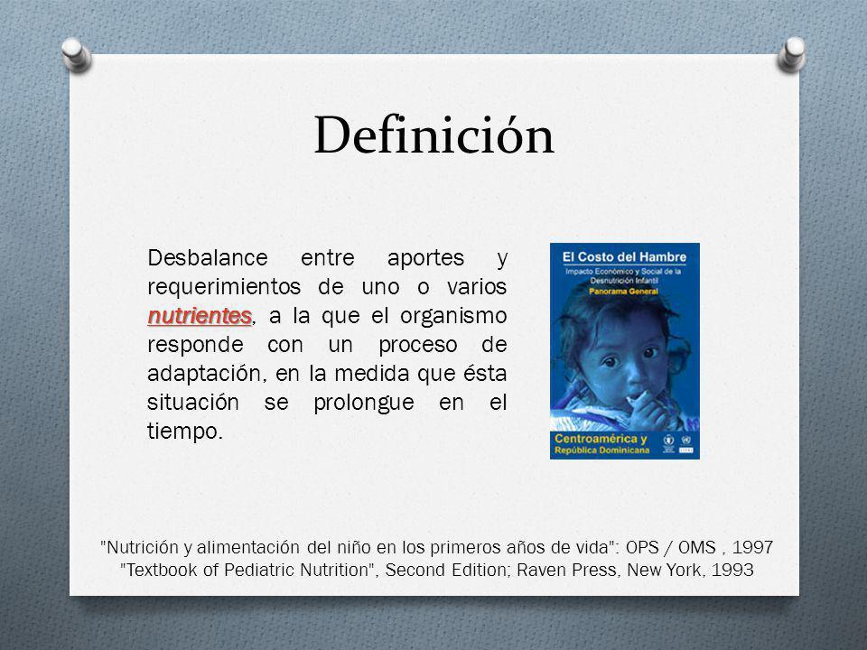 Definición nutrientes nutrientes Desbalance entre aportes y requerimientos de uno o varios nutrientes, a la que el organismo responde con un proceso d
