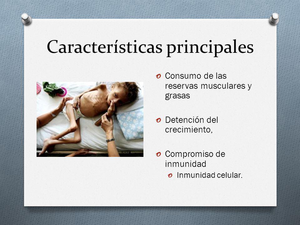 Características principales o Consumo de las reservas musculares y grasas o Detención del crecimiento, o Compromiso de inmunidad o Inmunidad celular.