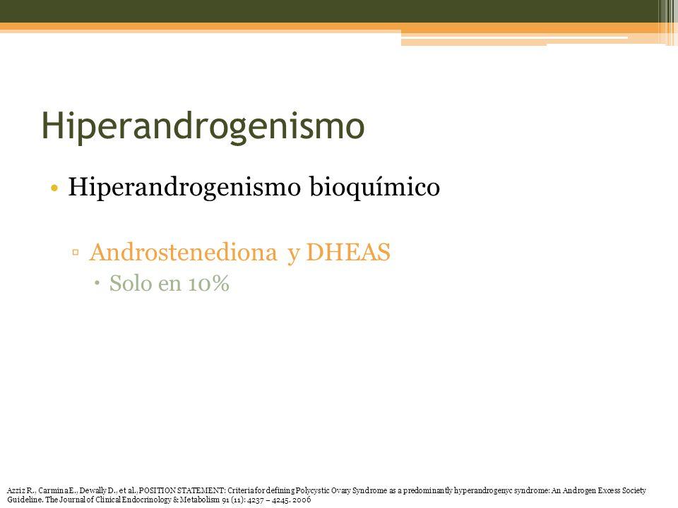 Hiperandrogenismo Hiperandrogenismo bioquímico Androstenediona y DHEAS Solo en 10% Azziz R., Carmina E., Dewally D., et al., POSITION STATEMENT: Criteria for defining Polycystic Ovary Syndrome as a predominantly hyperandrogenyc syndrome: An Androgen Excess Society Guideline.