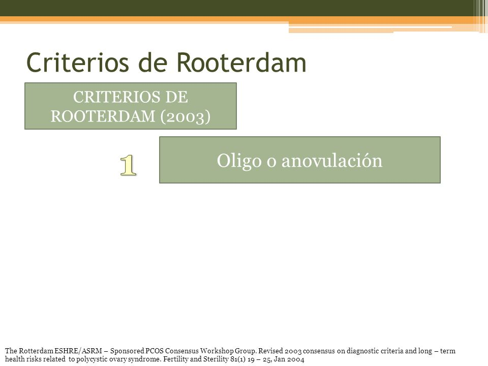 Criterios de Rooterdam CRITERIOS DE ROOTERDAM (2003) Oligo o anovulación The Rotterdam ESHRE/ASRM – Sponsored PCOS Consensus Workshop Group.