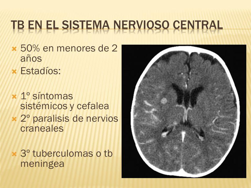 50% en menores de 2 años Estadíos: 1º síntomas sistémicos y cefalea 2º paralisis de nervios craneales 3º tuberculomas o tb meningea