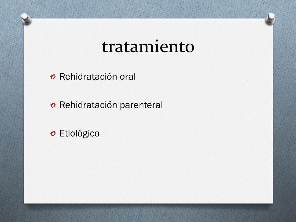 tratamiento o Rehidratación oral o Rehidratación parenteral o Etiológico