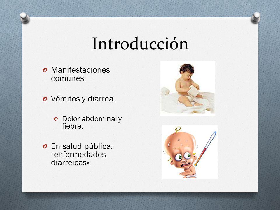 Introducción o Manifestaciones comunes: o Vómitos y diarrea. o Dolor abdominal y fiebre. o En salud pública: «enfermedades diarreicas»