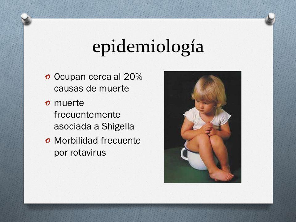 epidemiología o Ocupan cerca al 20% causas de muerte o muerte frecuentemente asociada a Shigella o Morbilidad frecuente por rotavirus