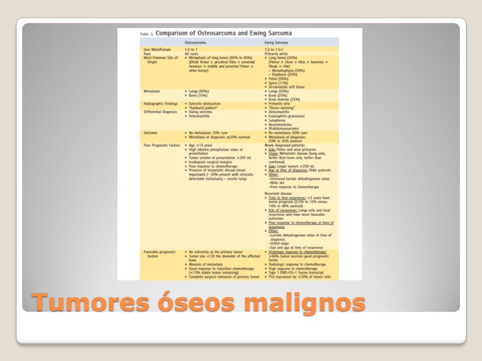 Otras lesiones malignas: Leucemia Linfoma de Células B Neuroblastoma Histiocitoma fibroso maligno Adamantinoma Condrosarcoma
