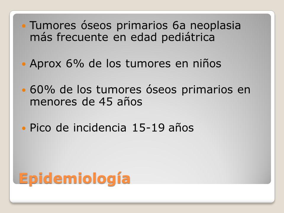 Epidemiología Tercera causa de neoplasia en la adolescencia Lesiones óseas benignas más frecuentes Lesiones primarias más frecuente en metafisis