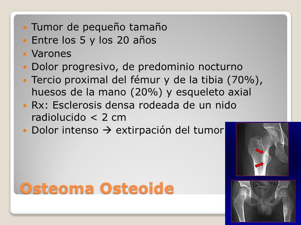 Osteoblastoma Osteoma osteoide gigante Componente osteolítico Tamaño mayor de 2 cm Crecimiento más rápido Huesos largos en diáfisis 1% de tumores óseos benignos