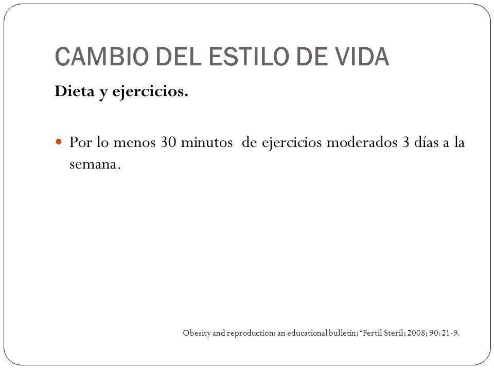 CAMBIO DEL ESTILO DE VIDA Dieta y ejercicios. Por lo menos 30 minutos de ejercicios moderados 3 días a la semana. Obesity and reproduction: an educati