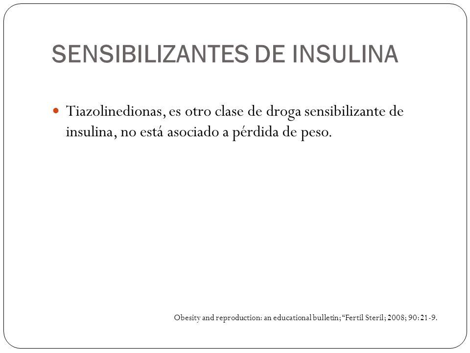 SENSIBILIZANTES DE INSULINA Tiazolinedionas, es otro clase de droga sensibilizante de insulina, no está asociado a pérdida de peso. Obesity and reprod