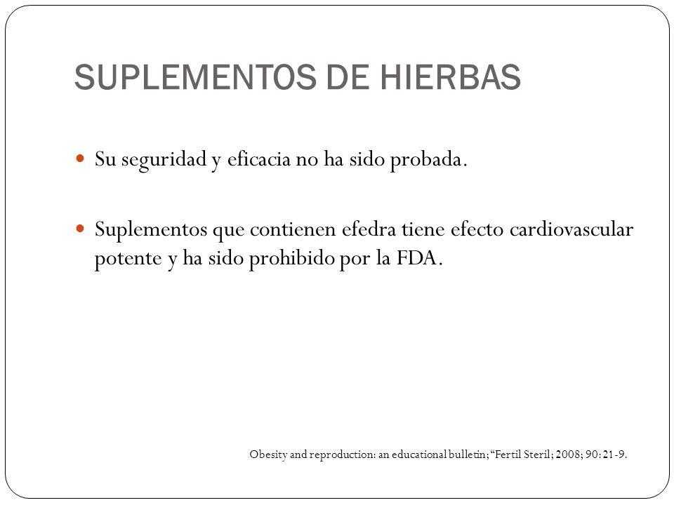 SUPLEMENTOS DE HIERBAS Su seguridad y eficacia no ha sido probada. Suplementos que contienen efedra tiene efecto cardiovascular potente y ha sido proh