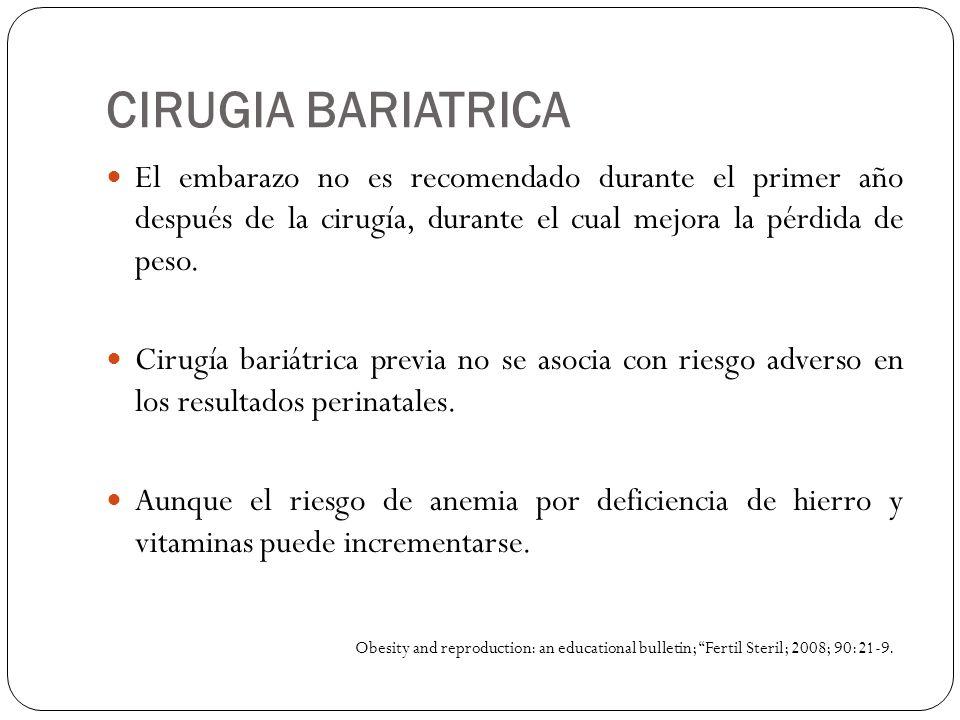 CIRUGIA BARIATRICA El embarazo no es recomendado durante el primer año después de la cirugía, durante el cual mejora la pérdida de peso. Cirugía bariá