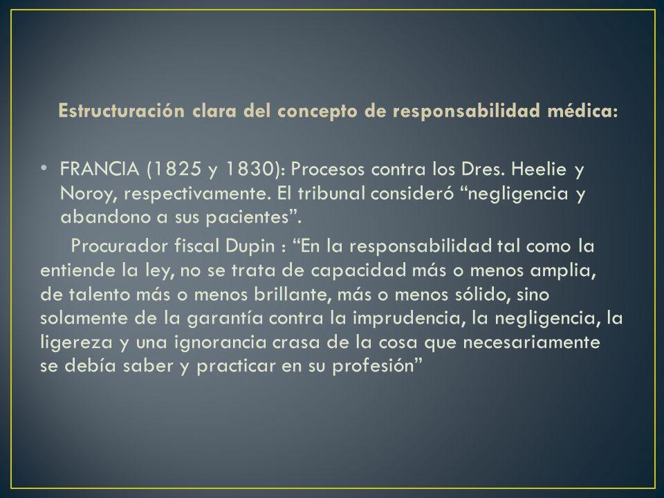 Estructuración clara del concepto de responsabilidad médica: FRANCIA (1825 y 1830): Procesos contra los Dres. Heelie y Noroy, respectivamente. El trib