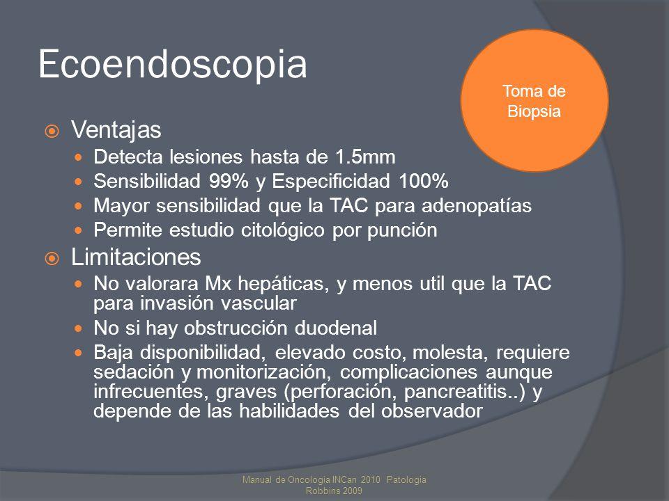 Ecoendoscopia Ventajas Detecta lesiones hasta de 1.5mm Sensibilidad 99% y Especificidad 100% Mayor sensibilidad que la TAC para adenopatías Permite es
