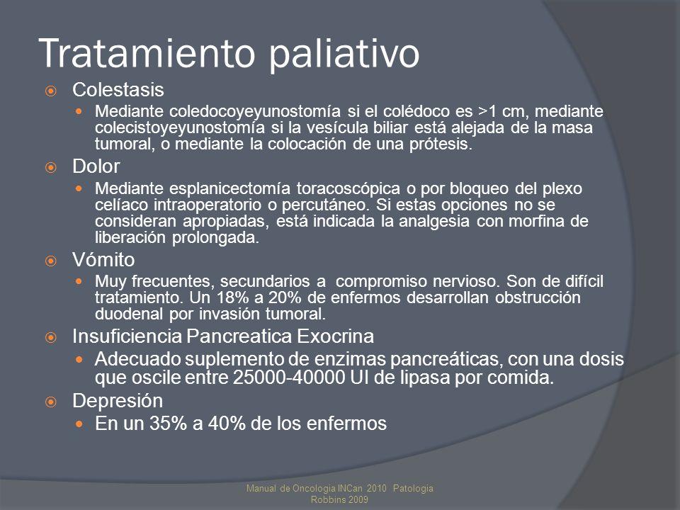 Tratamiento paliativo Colestasis Mediante coledocoyeyunostomía si el colédoco es >1 cm, mediante colecistoyeyunostomía si la vesícula biliar está alejada de la masa tumoral, o mediante la colocación de una prótesis.