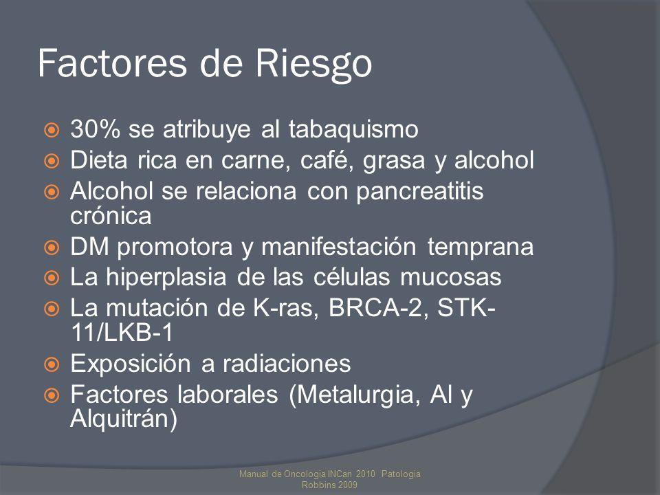 Anatomía Patológica y Diseminación 95% Adenocarcinomas de páncreas exocrino 60% en la cabeza, 20% en cola y cuerpo Diseminación por extensión directa, a duodeno, estomago y colon (60%) Vía linfática, a ganglios pancreatico superiores y pancreatodudodenales Vía hematógena, la afección hepática (70%) Propagación transcelómica, implantes Peritoneales Manual de Oncologia INCan 2010 Patologia Robbins 2009