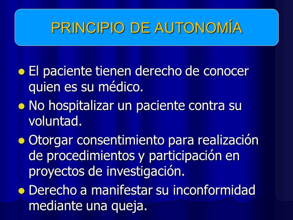 El paciente tienen derecho de conocer quien es su médico.