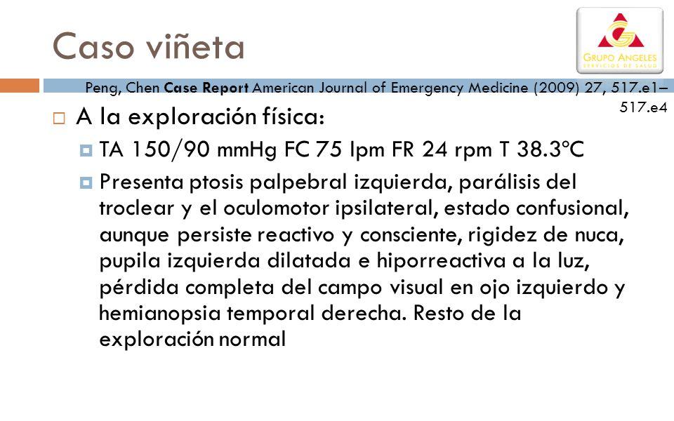 A la exploración física: TA 150/90 mmHg FC 75 lpm FR 24 rpm T 38.3ºC Presenta ptosis palpebral izquierda, parálisis del troclear y el oculomotor ipsil