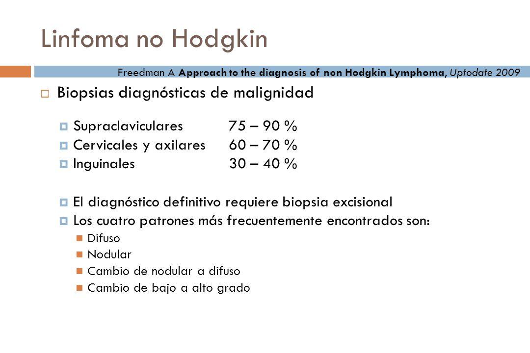 Linfoma no Hodgkin Biopsias diagnósticas de malignidad Supraclaviculares75 – 90 % Cervicales y axilares60 – 70 % Inguinales30 – 40 % El diagnóstico definitivo requiere biopsia excisional Los cuatro patrones más frecuentemente encontrados son: Difuso Nodular Cambio de nodular a difuso Cambio de bajo a alto grado Freedman A Approach to the diagnosis of non Hodgkin Lymphoma, Uptodate 2009