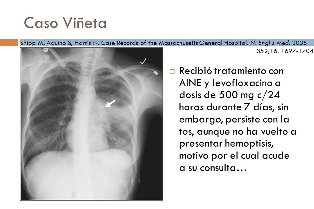 Caso Viñeta Recibió tratamiento con AINE y levofloxacino a dosis de 500 mg c/24 horas durante 7 días, sin embargo, persiste con la tos, aunque no ha vuelto a presentar hemoptisis, motivo por el cual acude a su consulta… Shipp M, Aquino S, Harris N.