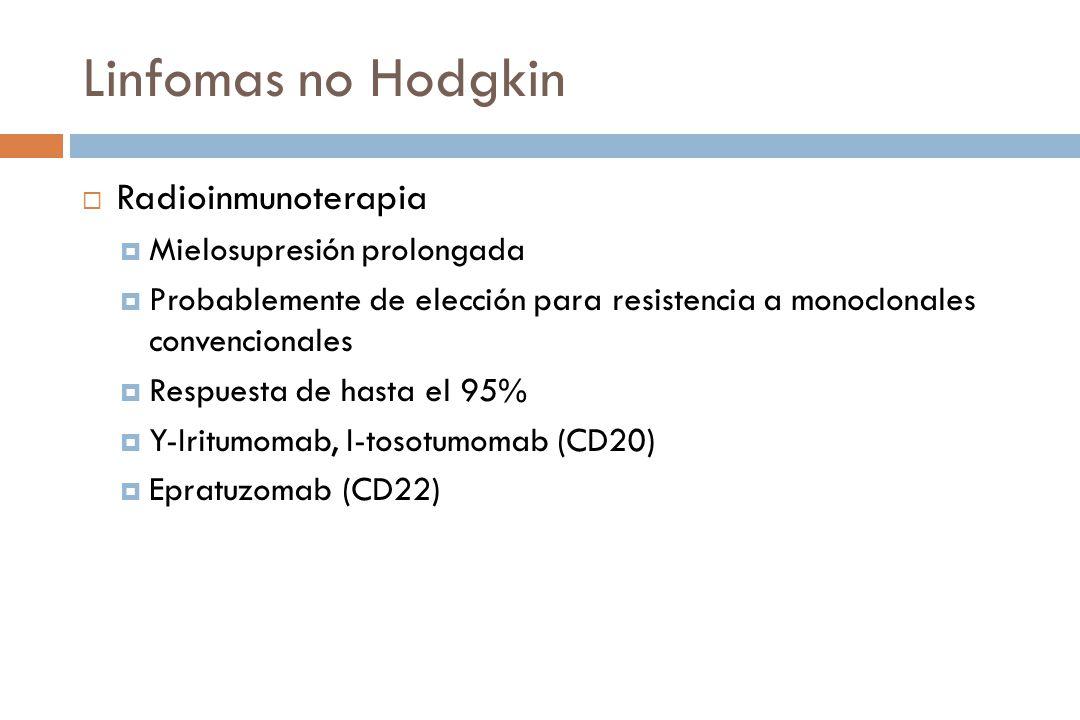 Linfomas no Hodgkin Radioinmunoterapia Mielosupresión prolongada Probablemente de elección para resistencia a monoclonales convencionales Respuesta de hasta el 95% Y-Iritumomab, I-tosotumomab (CD20) Epratuzomab (CD22)