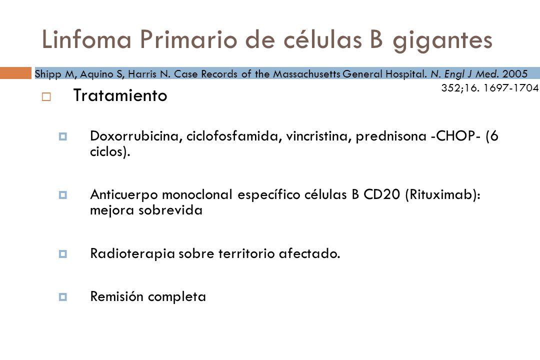 Linfoma Primario de células B gigantes Tratamiento Doxorrubicina, ciclofosfamida, vincristina, prednisona -CHOP- (6 ciclos).