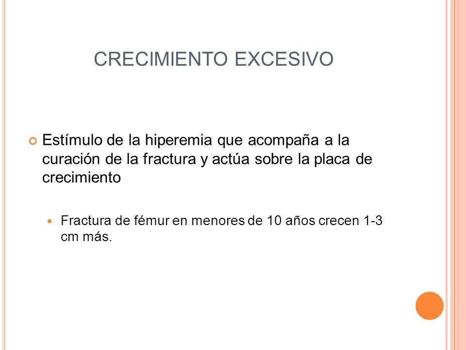 CRECIMIENTO EXCESIVO Estímulo de la hiperemia que acompaña a la curación de la fractura y actúa sobre la placa de crecimiento Fractura de fémur en men