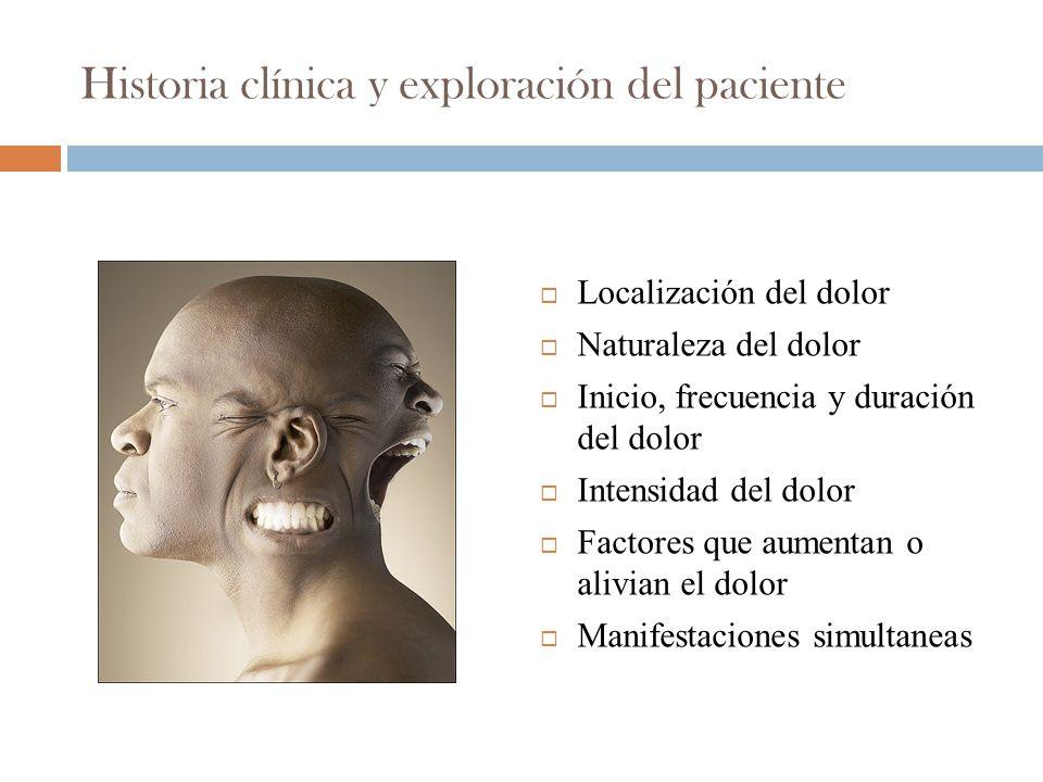 Historia clínica y exploración del paciente Localización del dolor Naturaleza del dolor Inicio, frecuencia y duración del dolor Intensidad del dolor Factores que aumentan o alivian el dolor Manifestaciones simultaneas