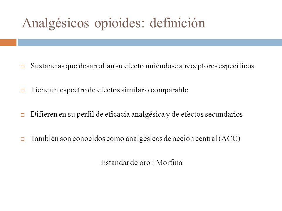 Analgésicos opioides: definición Sustancias que desarrollan su efecto uniéndose a receptores específicos Tiene un espectro de efectos similar o comparable Difieren en su perfil de eficacia analgésica y de efectos secundarios También son conocidos como analgésicos de acción central (ACC) Estándar de oro : Morfina