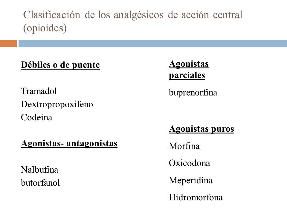 Clasificación de los analgésicos de acción central (opioides) Débiles o de puente Tramadol Dextropropoxifeno Codeina Agonistas- antagonistas Nalbufina butorfanol Agonistas parciales buprenorfina Agonistas puros Morfina Oxicodona Meperidina Hidromorfona