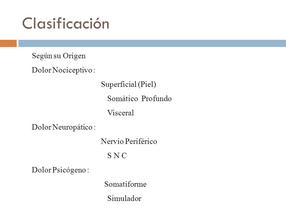 Clasificación Según su Origen Dolor Nociceptivo : Superficial (Piel) Somático Profundo Visceral Dolor Neuropático : Nervio Periférico S N C Dolor Psicógeno : Somatiforme Simulador