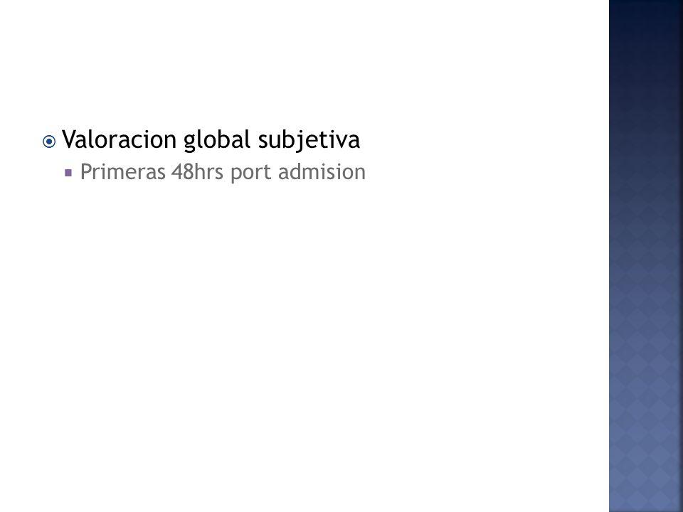 Valoracion global subjetiva Primeras 48hrs port admision