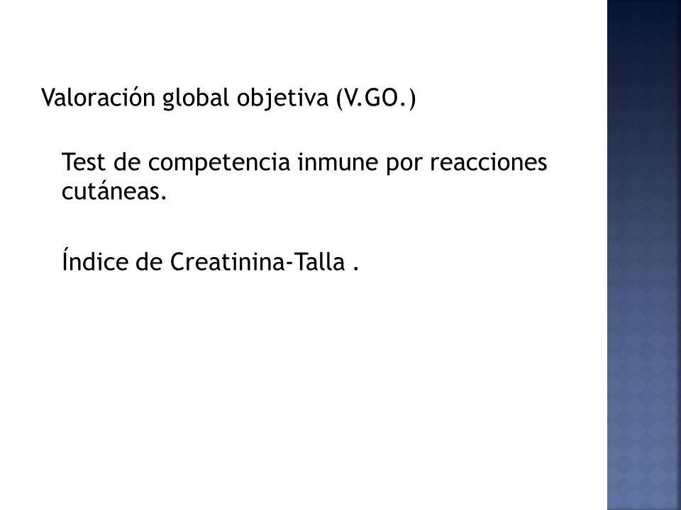 Valoración global objetiva (V.GO.) Test de competencia inmune por reacciones cutáneas. Índice de Creatinina-Talla.