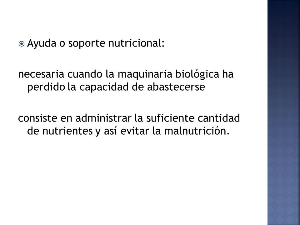 Ayuda o soporte nutricional: necesaria cuando la maquinaria biológica ha perdido la capacidad de abastecerse consiste en administrar la suficiente cantidad de nutrientes y así evitar la malnutrición.