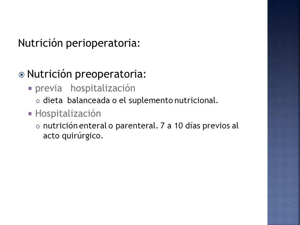 Nutrición perioperatoria: Nutrición preoperatoria: previa hospitalización dieta balanceada o el suplemento nutricional. Hospitalización nutrición ente