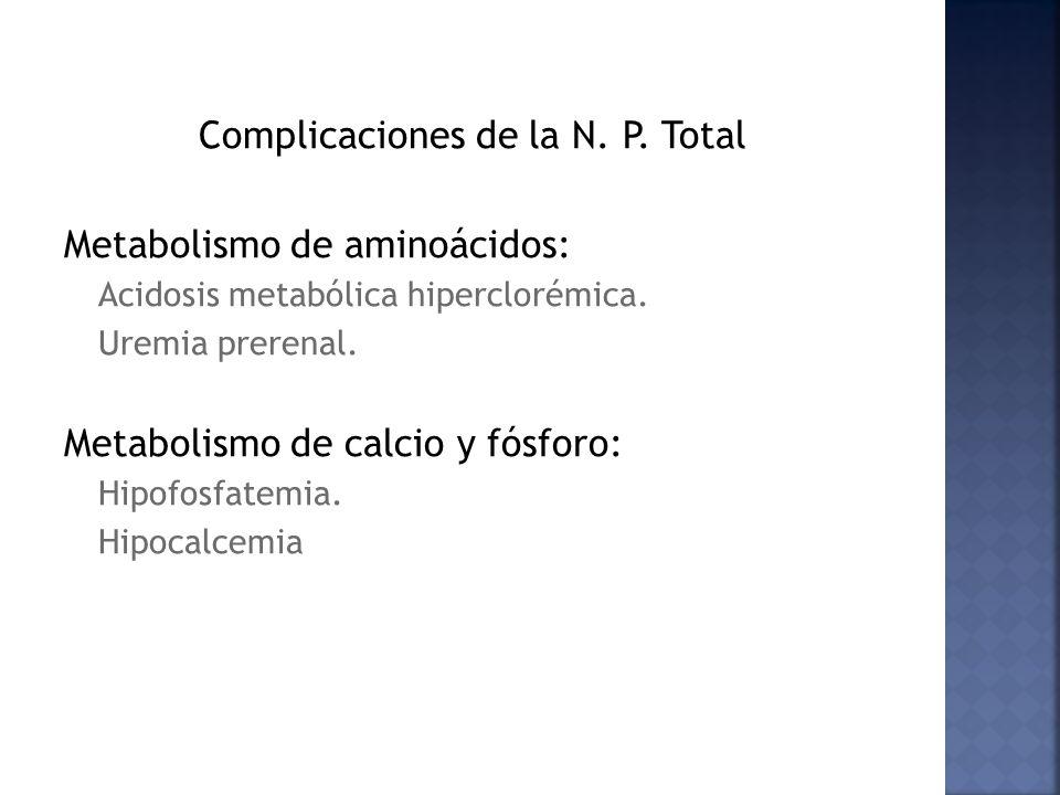 Complicaciones de la N. P. Total Metabolismo de aminoácidos: Acidosis metabólica hiperclorémica. Uremia prerenal. Metabolismo de calcio y fósforo: Hip