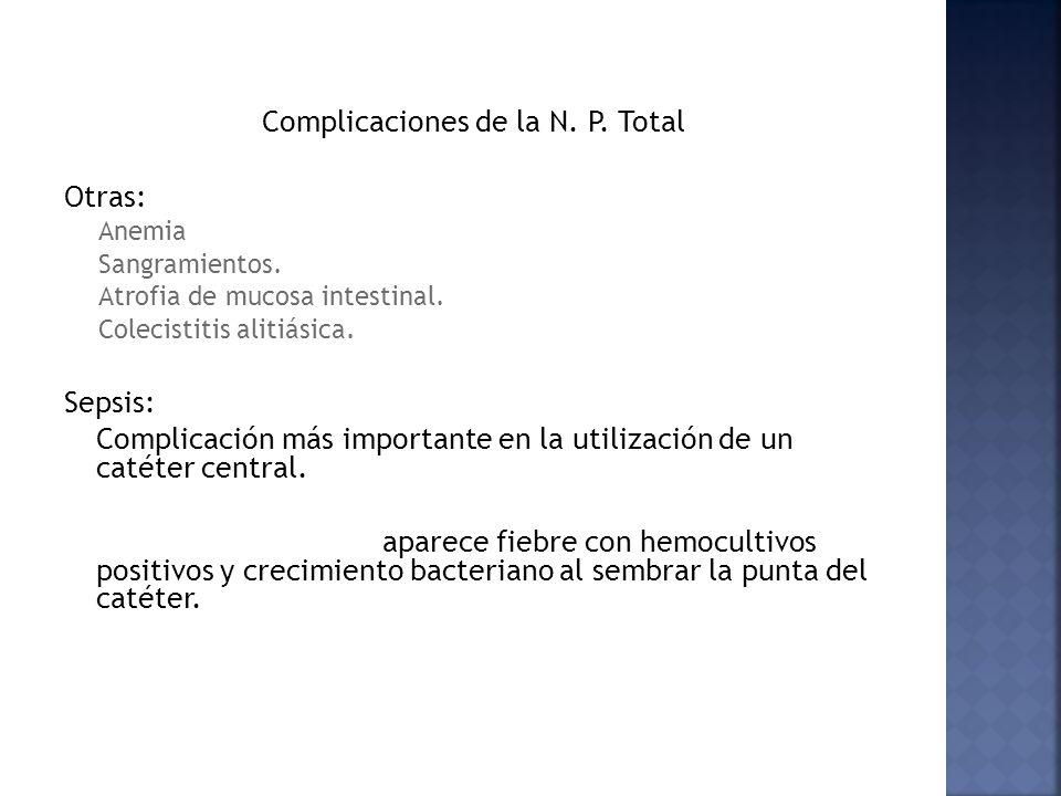 Complicaciones de la N. P. Total Otras: Anemia Sangramientos. Atrofia de mucosa intestinal. Colecistitis alitiásica. Sepsis: Complicación más importan