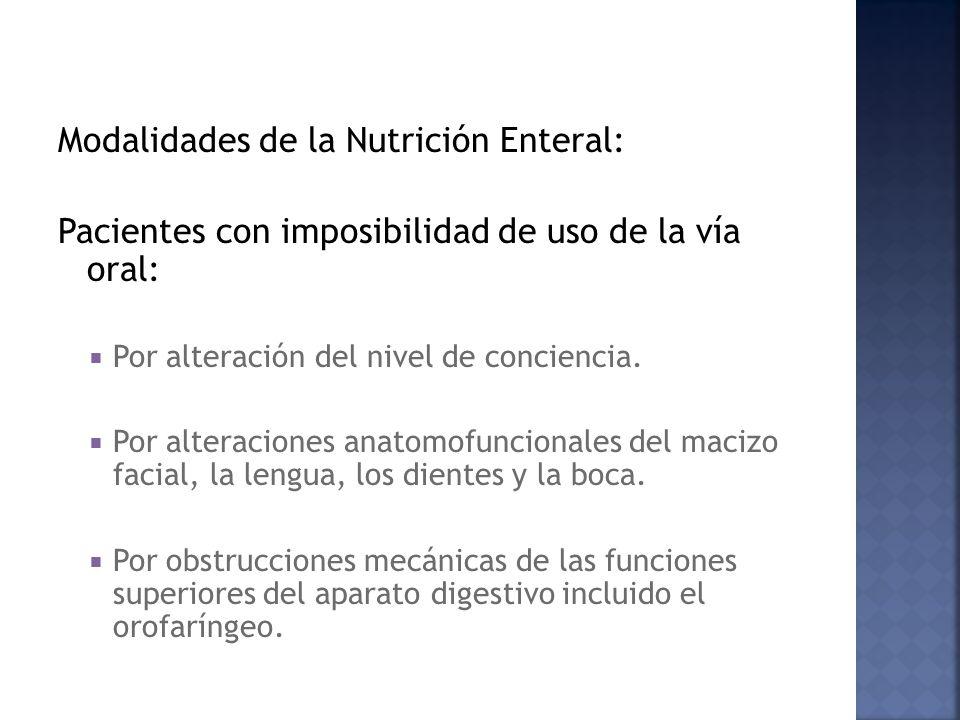 Modalidades de la Nutrición Enteral: Pacientes con imposibilidad de uso de la vía oral: Por alteración del nivel de conciencia. Por alteraciones anato