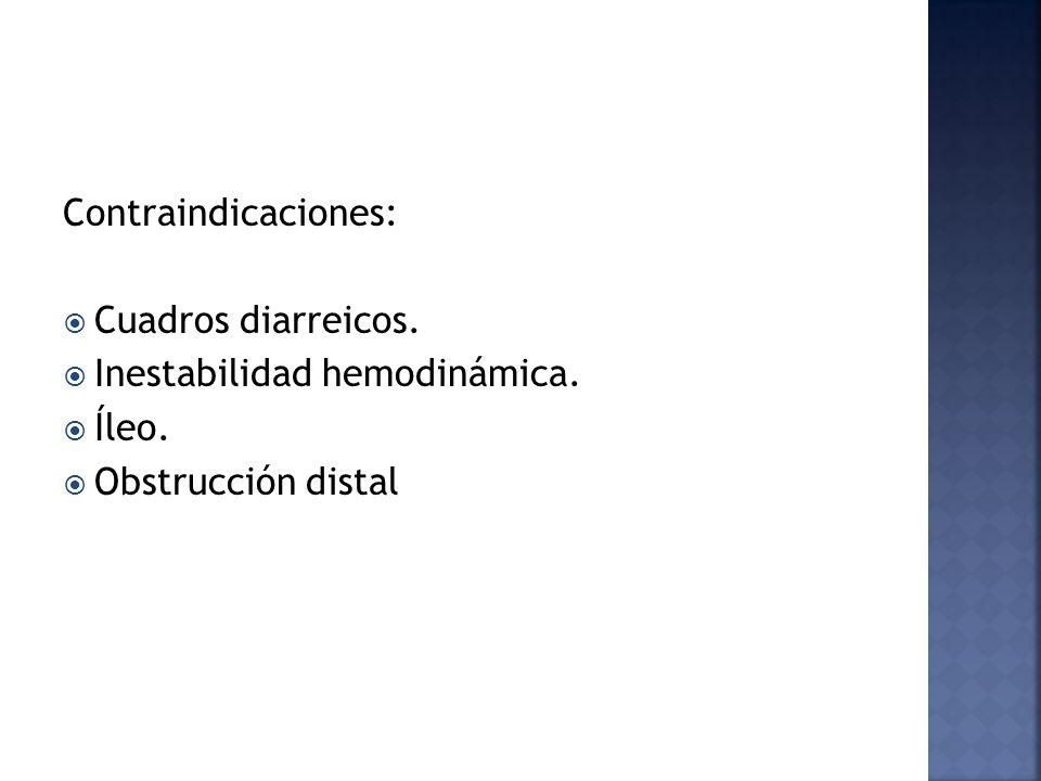 Contraindicaciones: Cuadros diarreicos. Inestabilidad hemodinámica. Íleo. Obstrucción distal