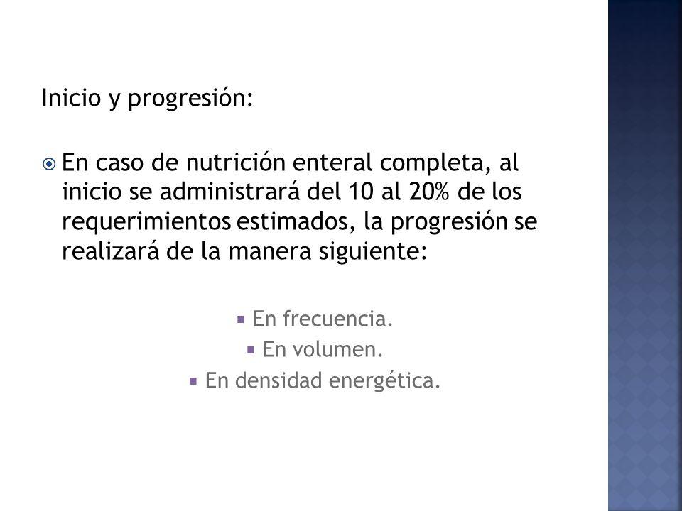 Inicio y progresión: En caso de nutrición enteral completa, al inicio se administrará del 10 al 20% de los requerimientos estimados, la progresión se realizará de la manera siguiente: En frecuencia.