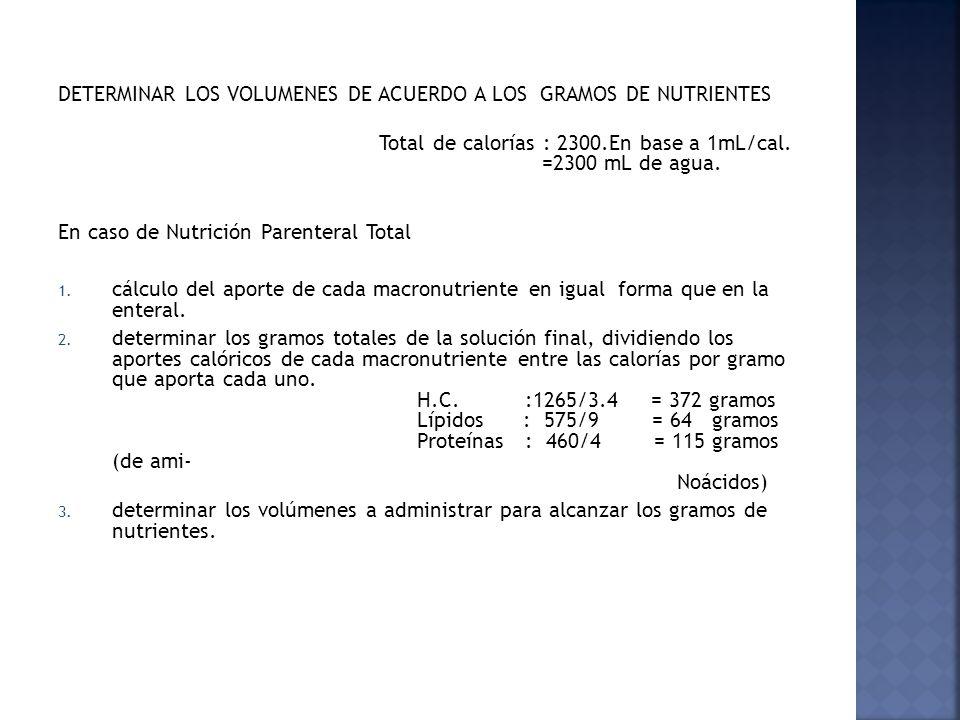 DETERMINAR LOS VOLUMENES DE ACUERDO A LOS GRAMOS DE NUTRIENTES Total de calorías : 2300.En base a 1mL/cal. =2300 mL de agua. En caso de Nutrición Pare