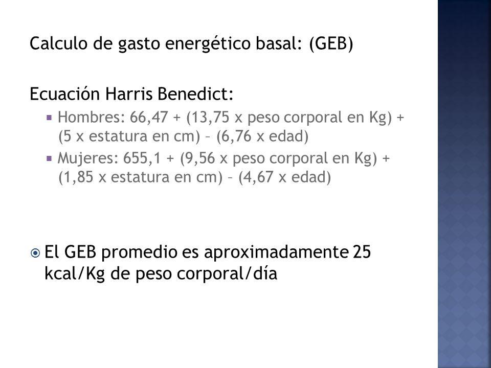 Calculo de gasto energético basal: (GEB) Ecuación Harris Benedict: Hombres: 66,47 + (13,75 x peso corporal en Kg) + (5 x estatura en cm) – (6,76 x edad) Mujeres: 655,1 + (9,56 x peso corporal en Kg) + (1,85 x estatura en cm) – (4,67 x edad) El GEB promedio es aproximadamente 25 kcal/Kg de peso corporal/día