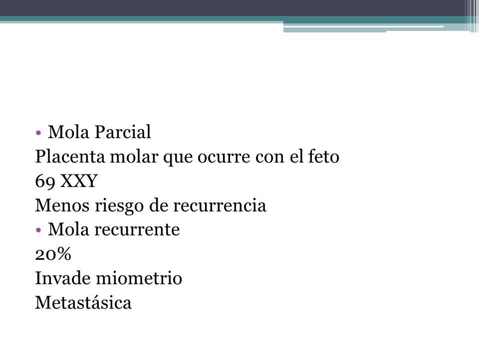 Mola Parcial Placenta molar que ocurre con el feto 69 XXY Menos riesgo de recurrencia Mola recurrente 20% Invade miometrio Metastásica