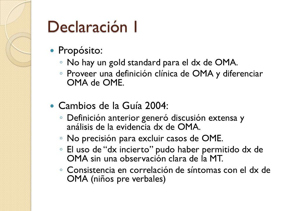Declaración I Propósito: No hay un gold standard para el dx de OMA. Proveer una definición clínica de OMA y diferenciar OMA de OME. Cambios de la Guía