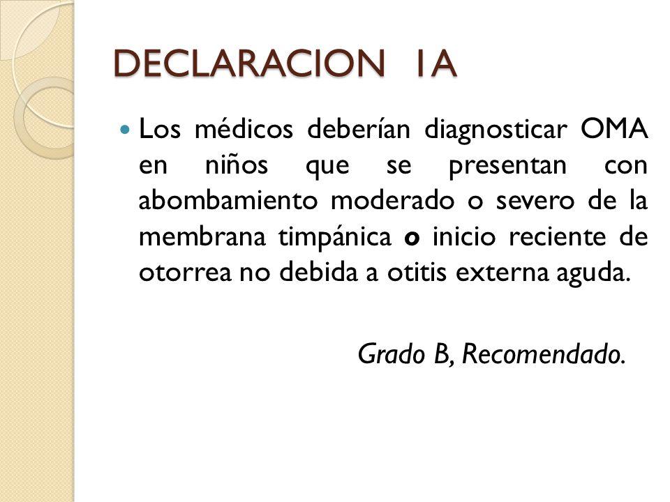 DECLARACION 1A Los médicos deberían diagnosticar OMA en niños que se presentan con abombamiento moderado o severo de la membrana timpánica o inicio re
