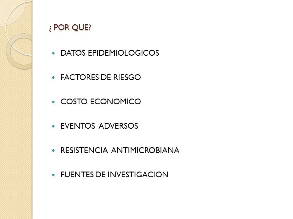 ¿ POR QUE? DATOS EPIDEMIOLOGICOS FACTORES DE RIESGO COSTO ECONOMICO EVENTOS ADVERSOS RESISTENCIA ANTIMICROBIANA FUENTES DE INVESTIGACION